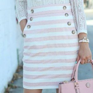 Ann Taylor Loft Pencil Skirt Pink and White